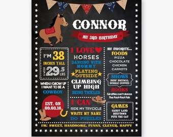 Cowboy Chalkboard Sign, Milestones Board, ANY AGE, Horse Birthday Party, Western Party Decorations, Personalized Digital Board