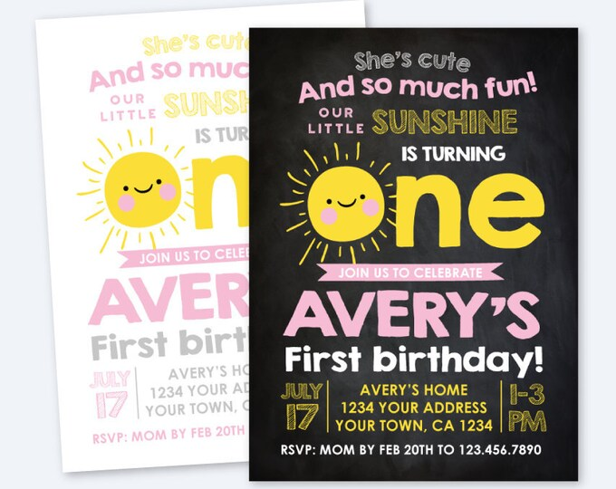 Little Sunshine Invitation, First Birthday Invitation, Sun Invitation, Summer Birthday Party Personalized Printable Invite, 2 Options