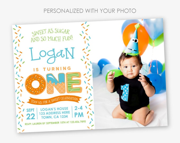 Sprinkles First Birthday Invitation with Photo, Sweets Invitation, Boy Birthday Party, 1st Birthday, Personalized Invitation, 2 options