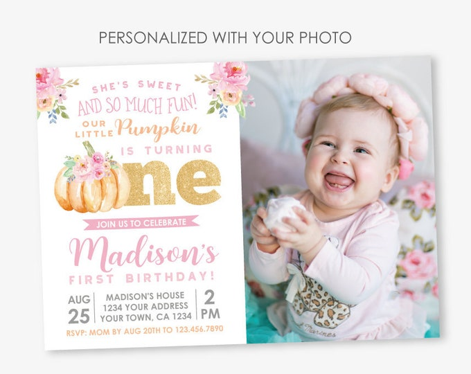 Little Pumpkin First Birthday Invitation with Photo, Fall Birthday Invitation, Floral Birthday Party, Personalized Digital Invite