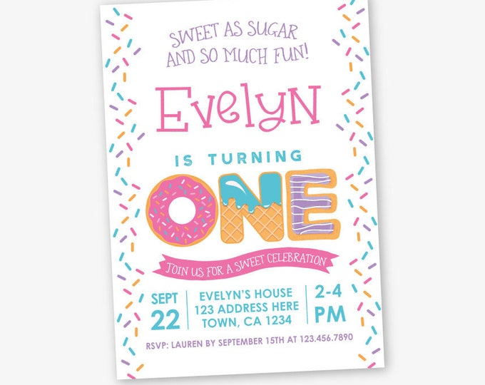 Sprinkles First Birthday Invitation, Sweets Birthday Invitation, Girl Birthday Party, 1st Birthday, Personalized Invitation, 2 options