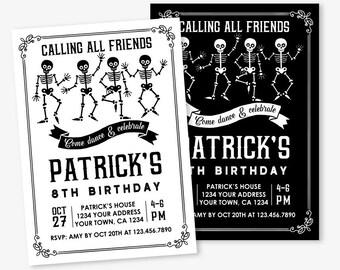 Halloween Birthday Invitation, Skeleton Invitation, Halloween Invitation, Black and White Personalized Printable DIGITAL Invite, 2 options