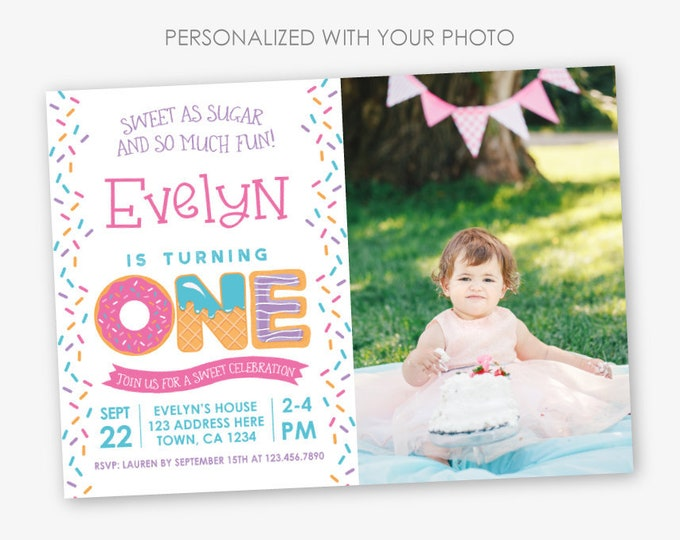 Sprinkles First Birthday Invitation with Photo, Sweets Invitation, Girl Birthday Party, 1st Birthday, Personalized Invitation, 2 options