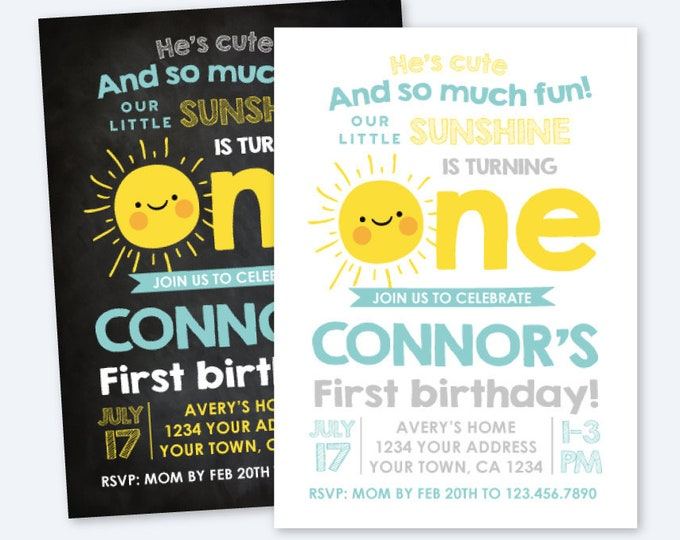 Little Sunshine Invitation, Summer First Birthday Invitation, Sun Invitation, Summer Birthday Party Personalized Printable Invite, 2 Options