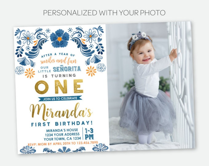 Fiesta 1st Birthday Invitation with Photo, Floral First Birthday Party, Mexican Party, Little Señorita, Any Age, Personalized Digital Invite