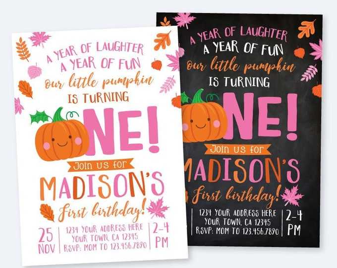 Little Pumpkin First Birthday Invitation, Girl Invitation, Pink and Orange Autumn Birthday Party, DIGITAL personalized invites, 2 Options