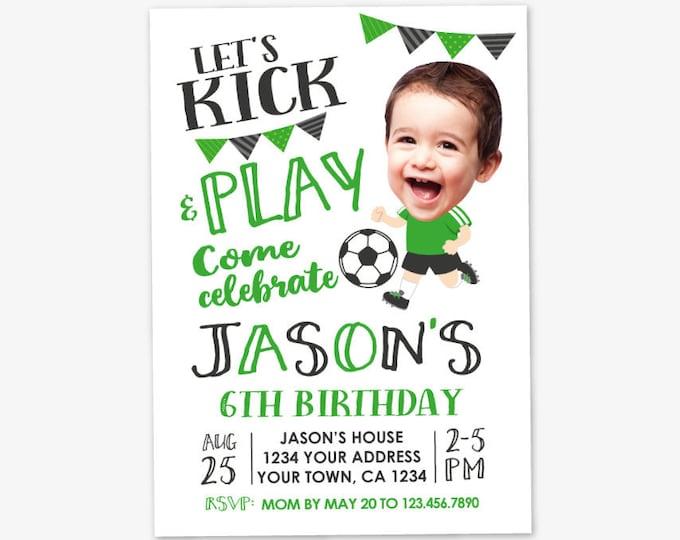 Soccer Boy Birthday Invitation with Photo, Soccer Birthday, Sports Birthday Party, Personalized Printable DIGITAL Invite
