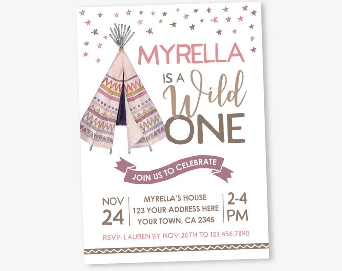 Teepee Birthday Invitation, Wild One Birthday Invitation, Girls First Birthday, Tribal Invite, Personalized Digital Invite