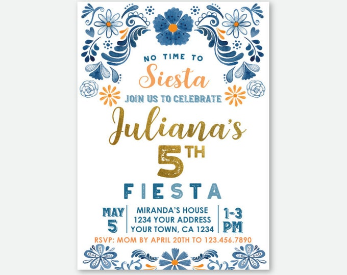 Fiesta Birthday Invitation, Floral Birthday Party, Mexican Party, Little Señorita, Any Age, Personalized Digital Invite, No time to siesta