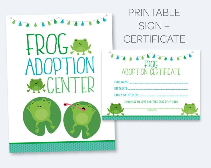 Frog Adoption Party, Pet Adoption Sign + Adoption Certificate, Printable sign and certificate, Pet Adoption Party, INSTANT DOWNLOAD