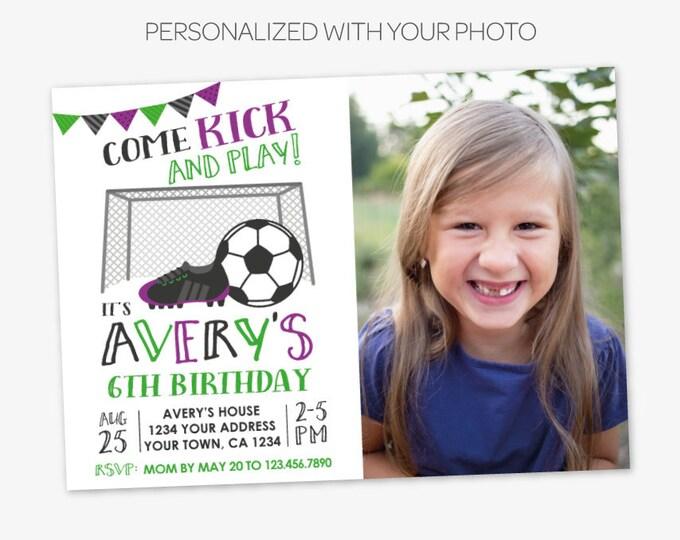 Soccer Invitation with Picture, Soccer Birthday Party, Sports Birthday Party, Sports Invitation, Printable DIGITAL Invitation