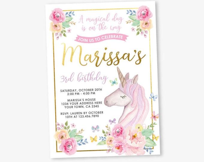 Unicorn Birthday Invitation, Magical Birthday Party, Floral Unicorn Invitation, Unicorn butterflies flowers, Personalized DIGITAL Invitation