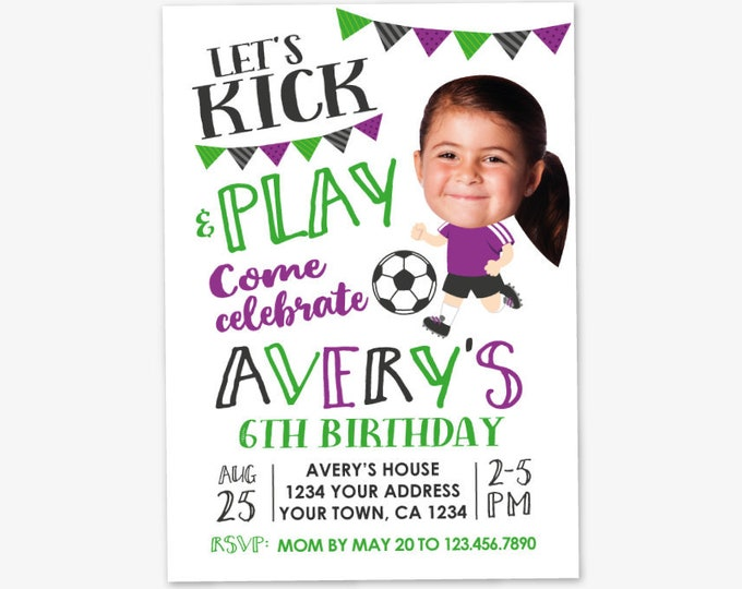 Soccer Girl Birthday Invitation with Photo, Soccer Birthday, Sports Birthday Party, Personalized Printable DIGITAL Invite
