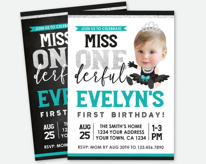 Miss ONEderful Invitation with Photo, Teal Black Silver Party, Little Miss Birthday Invitation, Personalized Digital Invitation, 2 options