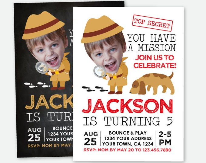 Detective Invitation with Photo, Secret Agent Birthday Party, Spy Party Invite, Mystery Birthday, Personalized Digital Invitation, 2 options