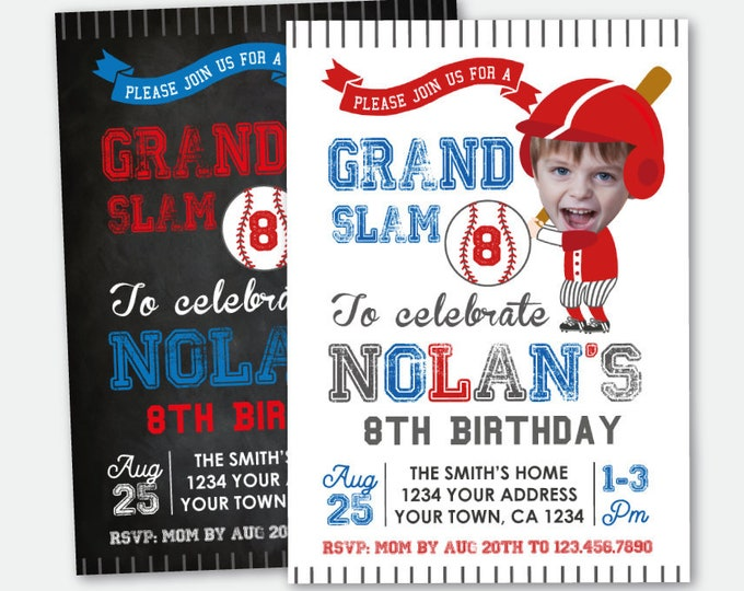 Baseball Birthday Invitation with Photo, ANY AGE, Baseball Birthday Party, Sport Invitation, Personalized Printable Invite, 2 Options