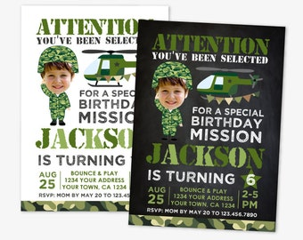 Military Birthday Invitation with Photo, Army Birthday Party, Soldier Birthday Invitation, Personalized Printable DIGITAL Invite, 2 Options