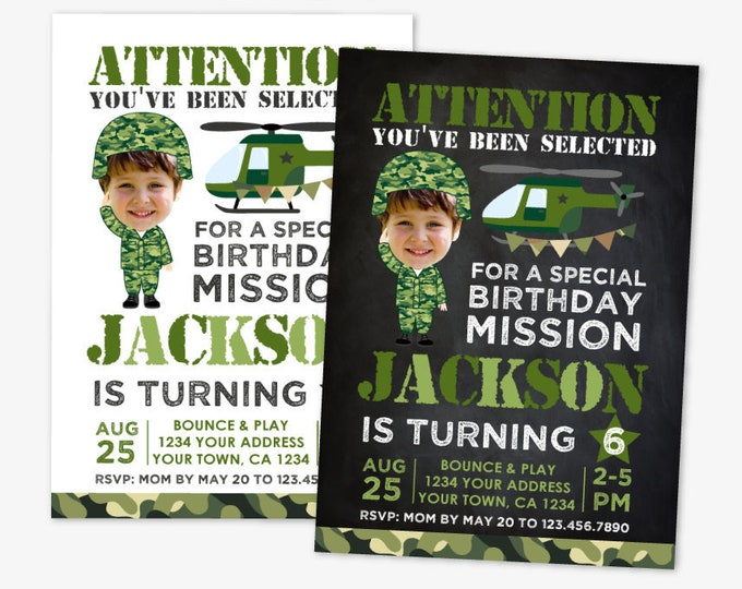 Military Birthday Invitation with Photo, Army Birthday Party, Soldier Birthday Invitation, Personalized Printable DIGITAL Invite, 2 Options