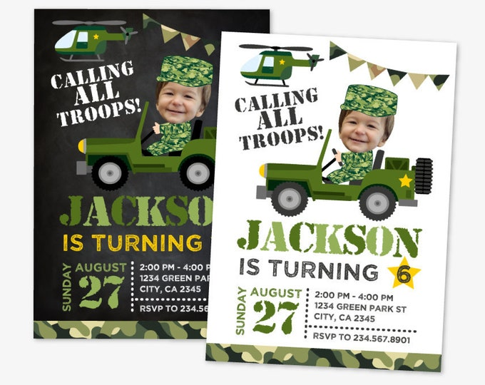 Soldier Birthday Invitation with Photo, Army Birthday Party, Military Birthday Invitation, Personalized Printable DIGITAL Invite, 2 Options