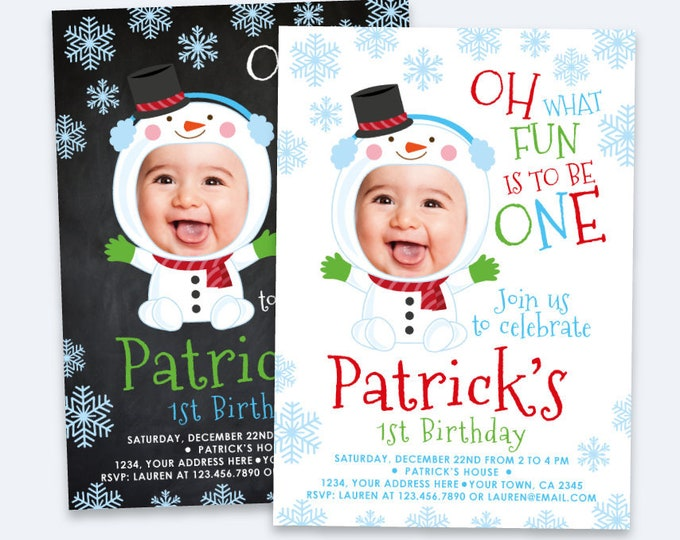 Snowman birthday Invitation with Photo, Christmas 1st Birthday Invitation, Personalized DIGITAL Printable Invite, Any age, 2 options