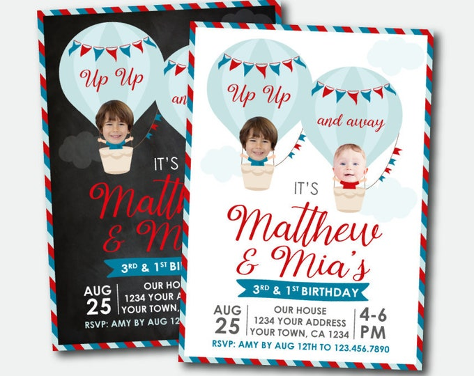 Hot Air Balloon Siblings Invitation with Photo, Travel Birthday Party, Adventure Begins, ANY AGE, Personalized Printable Invite, 2 Options