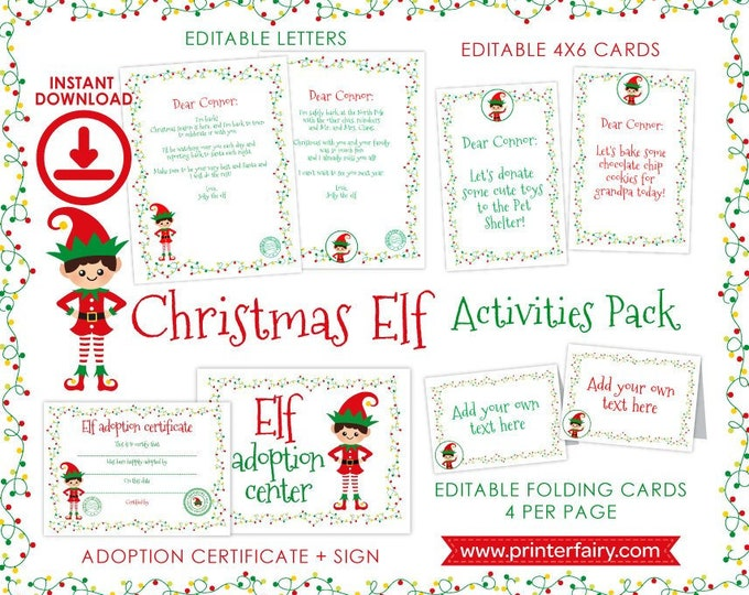 Christmas ELF Activities, Elf Adoption, Certificate, Sign, Letters, Cards, Folding Labels, INSTANT DOWNLOAD