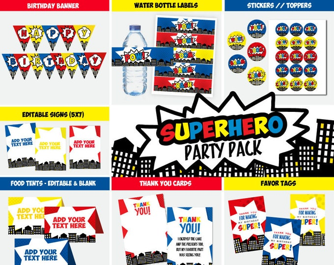Superhero Party Pack, Printable Banner, Toppers, Stickers, Sign, Food Tents, Thank You Cards, Favor Tags, Birthday Party, Instant download