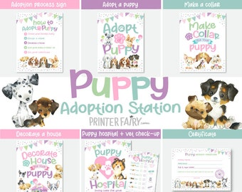 Puppy Party Games, Adopt a Puppy Party, Dog Adoption Birthday Party, Dog Lover Birthday, Puppy Adoption Station, 7+1 files! INSTANT DOWNLOAD