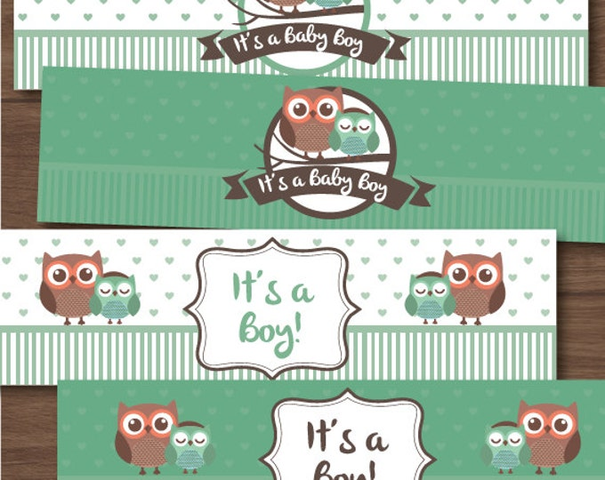 Owl baby shower water bottle labels, pack of 4, party favors, Baby boy, baby shower