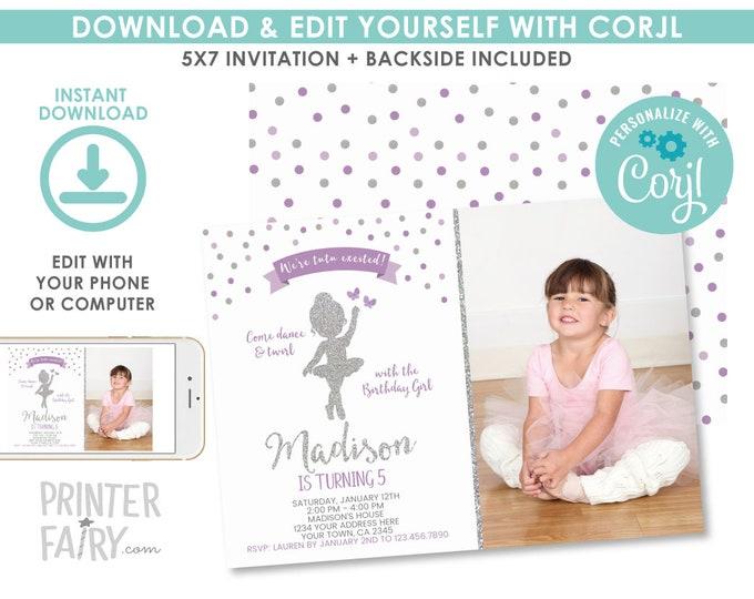 EDITABLE Ballerina Birthday Invitation with photo, Purple and Silver, Ballet Invitation, Dance Party, Any age, EDIT YOURSELF Digital Invite