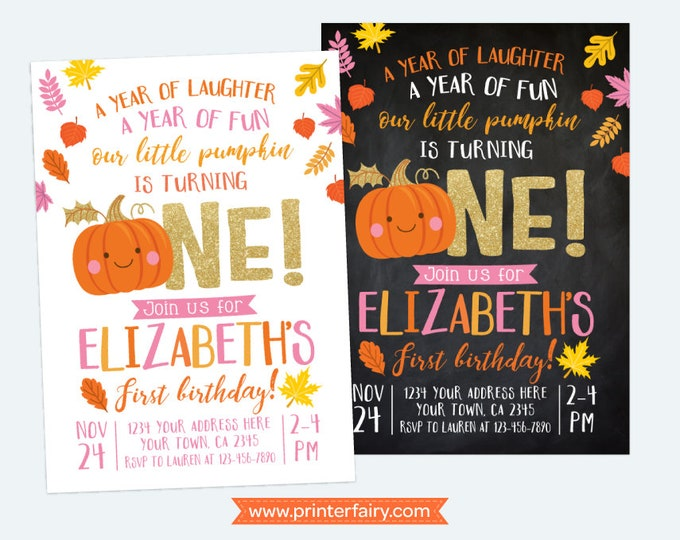 Little Pumpkin First Birthday Invitation, Pumpkin Girl Invitation, Autumn Birthday Party, DIGITAL personalized invites, 2 Options