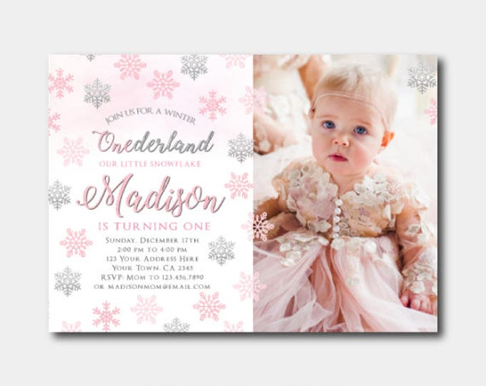 Winter Onederland Invitation with photo, Little snowflake First Birthday Invitation, Winter Birthday Party, DIGITAL Personalized Invite