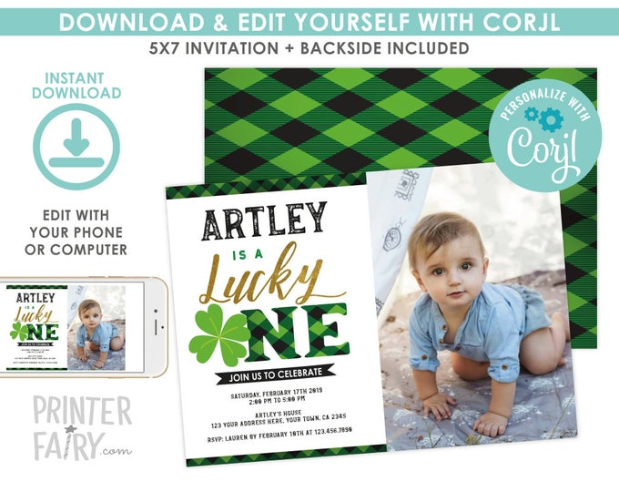 Lucky One Invitation with photo, St Patricks Day EDITABLE Invitation, Lucky One Invitation, Shamrock Invitation, EDIT YOURSELF with Corjl