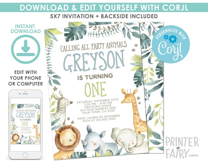 EDITABLE Jungle Birthday Invitation, Safari Invitation, Jungle Animals Party, Any age, EDIT YOURSELF Digital Invite