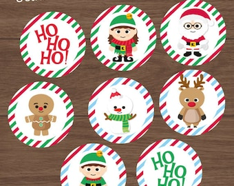 Christmas stickers,  Christmas toppers, 8 printable stickers, santa claus, rudolph the reindeer, snowman, gingerbread man, elves