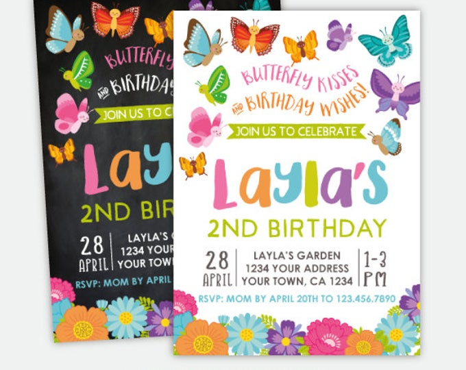 Butterfly Invitation, Spring Birthday Party Invites, Garden Invitation, Personalized Invitation, 2 options