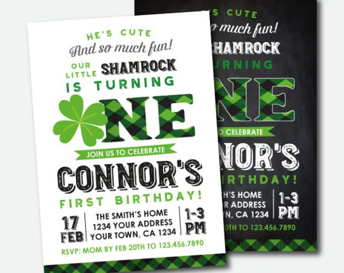 St Patrick Day First Birthday Invitation, Shamrock Birthday Invitation, St Patricks Day Birthday Party, Personalized DIGITAL Invites