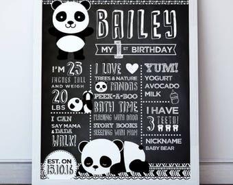 Panda Birthday Poster, Panda Prints, Panda First Birthday Board, Panda Poster, Milestone Board, Printable Poster, Black and White Nursery