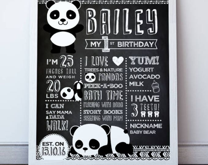 Panda Birthday Poster, Panda Prints, Panda First Birthday Board, Panda Poster, Milestone Board, Printable Poster, Black and White Nursery