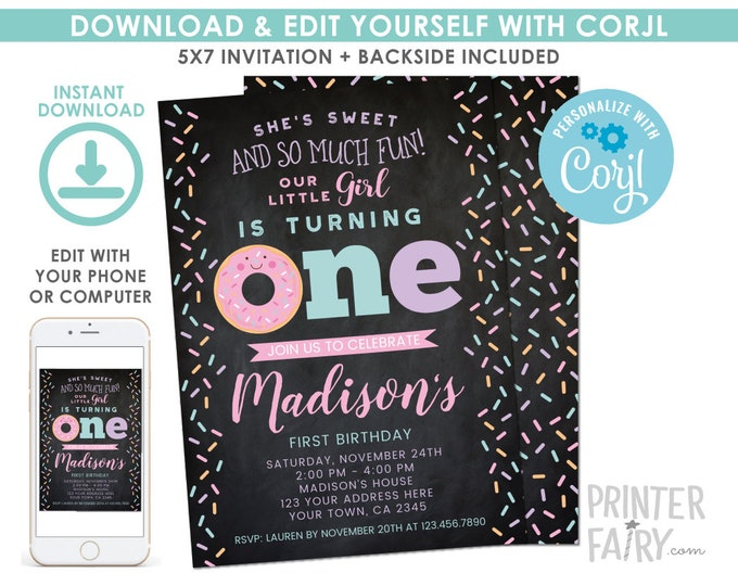 EDITABLE Donut First Birthday Invitation Chalkboard, Sprinkles 1st Birthday Party, Donut Party, EDIT YOURSELF Digital Invite