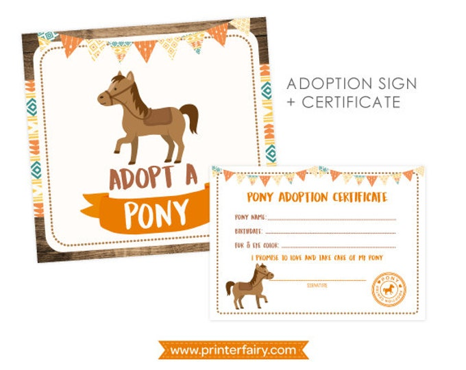 Pony Birthday Party, Horse Birthday Party, Pony Adoption, Horse Decorations, Cowboy Party, Cowboy Decor, Pony signs, Instant download