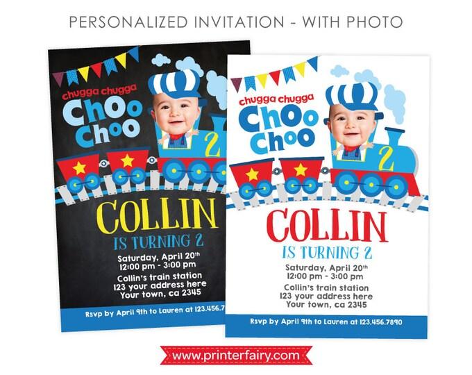 Train Invitation with Photo, Train Birthday Invitation, Choo choo 2nd Birthday Invitation, Any age,  Personalized Digital Invitation