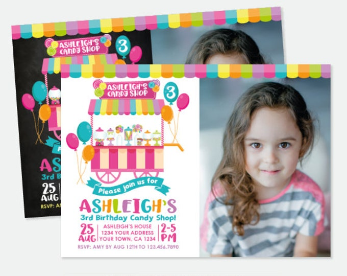 Candy Shop Invitation with Photo, Candy Shop Birthday Party, Sweet Shop Invitation, Personalized Printable Invitations, 2 options