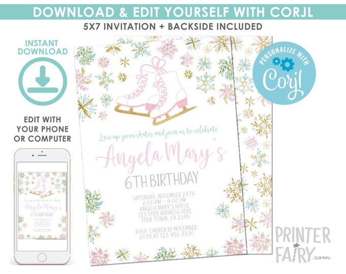 EDITABLE Ice Skating Birthday Invitation, Winter Birthday Party, Snowflake Invitation, EDIT YOURSELF Digital Invite