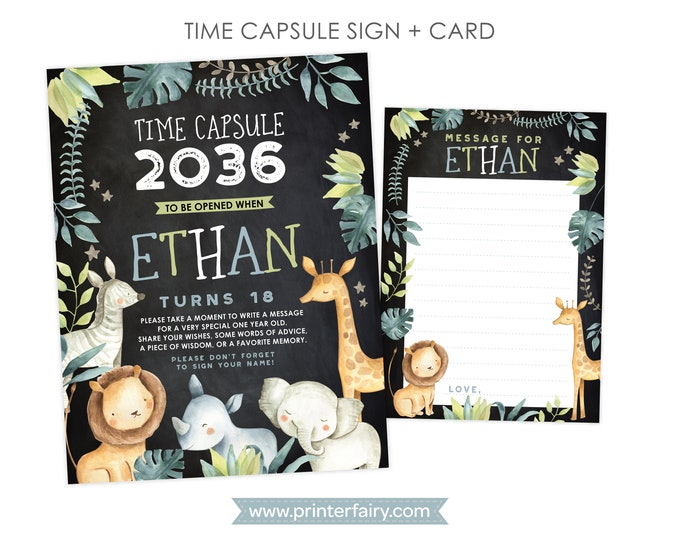 Jungle Time Capsule Chalkboard, Personalized sign + card, Safari 1st Birthday, Personalized Printable Time Capsule, DIGITAL