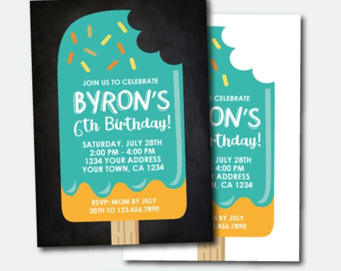 Popsicle  Invitation, Ice Cream Birthday Party, Summer Party, Popsicle Invite, Personalized Invitation, 2 options