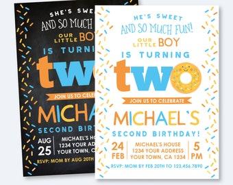 Donut 2nd Birthday Invitation, Sprinkles Birthday Invitation, Boy Birthday Party, Second Birthday Invite, Personalized Invitation, 2 options