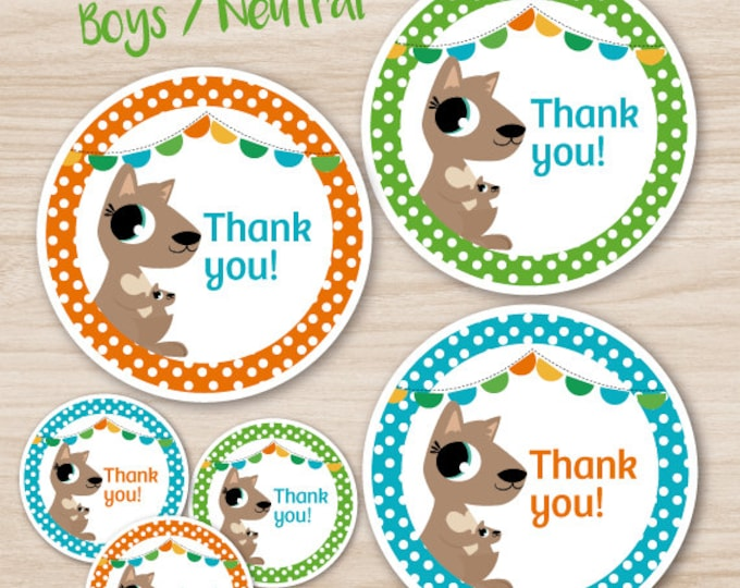 Baby Shower Stickers for baby boys, cute kangaroo polkadot theme - Cyan, green, orange