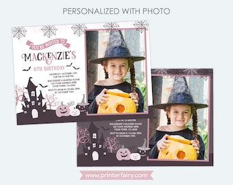Halloween Invitation with Photo, Pink and Black Halloween Birthday Party, Girls Birthday Party, DIGITAL Personalized, 2 options