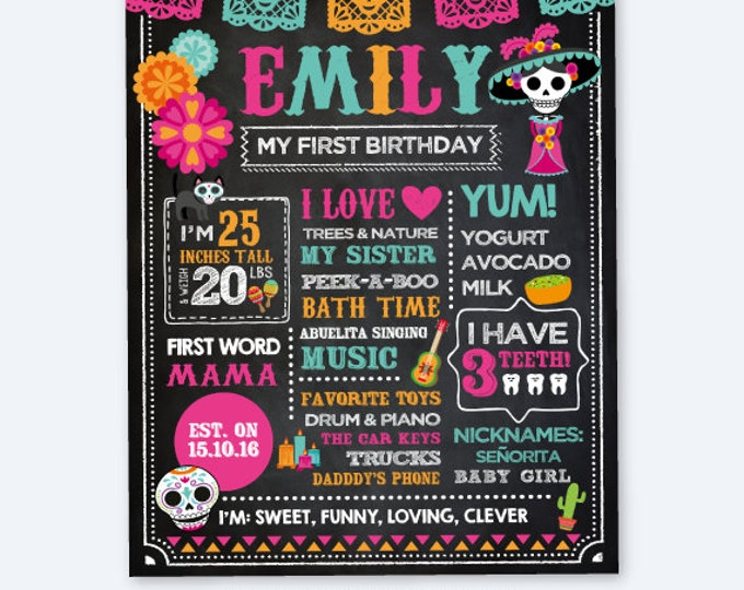 Dia de los Muertos Chalkboard Sign, Day of the Dead Birthday Decorations, Any Age, Mexican Party, Personalized Printable Milestone Poster